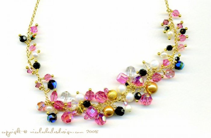 V A L E N T I N E - - Swarovski Austrian Crystal, Freshwater Pearls, and Gold Necklace