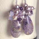 D I A N A - - Lepediolite, Freshwater Pearls, Amethyst, and Sterling Silver Earrings