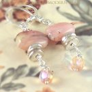M I R A N D A - - Peruvian Pink Opals, and Fine Silver Earrings