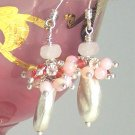 V E R O N I Q U E - - Pink Opals, Rose Quartz, Crystal and Sterling Silver Earrings