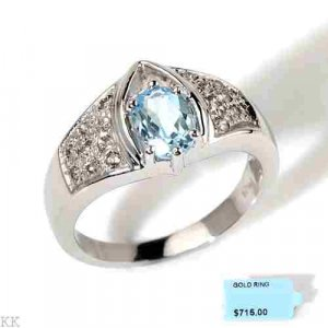 14K White Gold Blue Topaze Diamond Ring