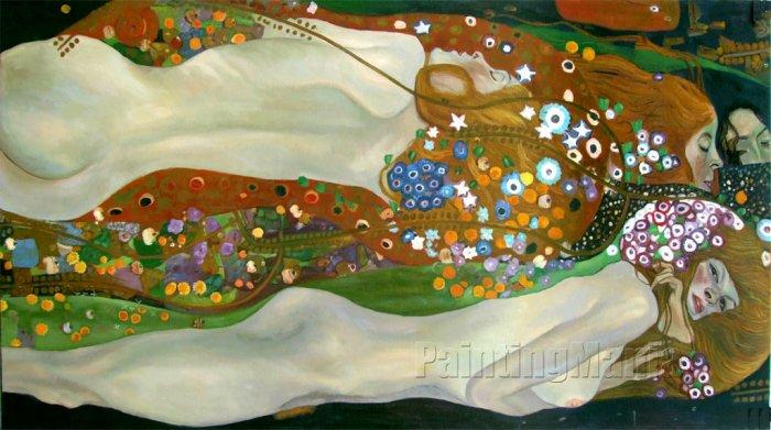 Gustav Klimt Water Serpents II hand painted oil painting on canvas