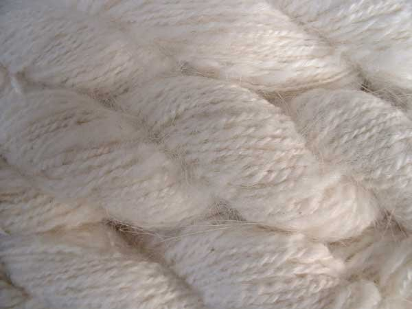 Natural white angora rabbit fur yarn