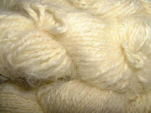 Pale yellow angora rabbit fur yarn