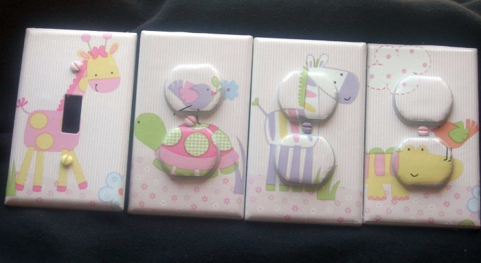 LIGHT SWITCH AND OUTLET COVERS M/W LAMBS & IVY JUNGLE LUV