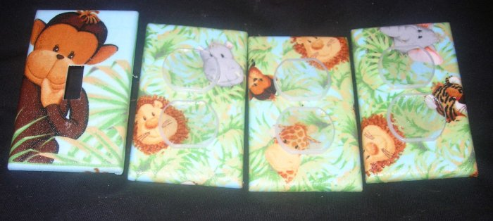 LIGHT SWITCH AND OUTLET COVERS M/W PATTY REED JUNGLE BABIES