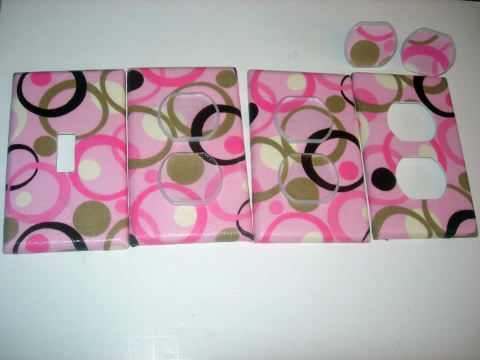 light switch and outlet covers m/w pink brown swirl circles by GEORGE BABY