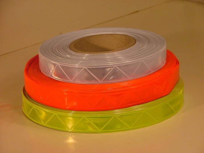 """Reflective Yellow PVC Sew On Tape 1"""" x 30ft"""