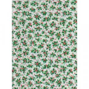 Holly and Ivy Christmas Cotton Quilting Fabric