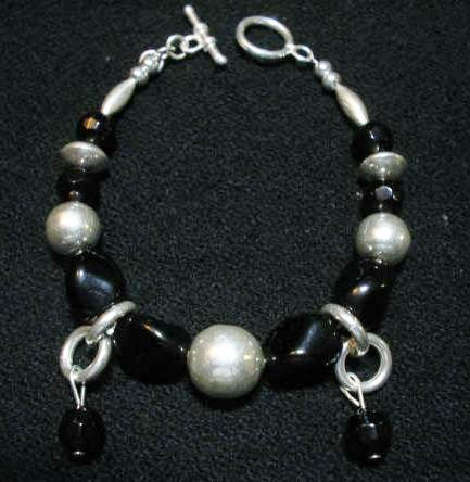 Handcrafted Silver Jewelry - Handmade .950 Silver Bracelet with Black Murano