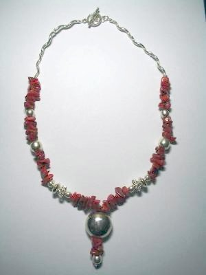 Handcrafted Silver Jewelry - Handmade .950 Silver Necklace with REAL Red Coral