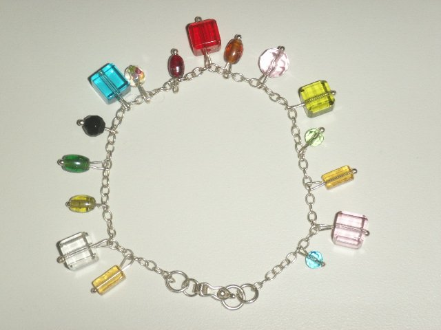 Handmade .950 pure silver anklet with murano crystals