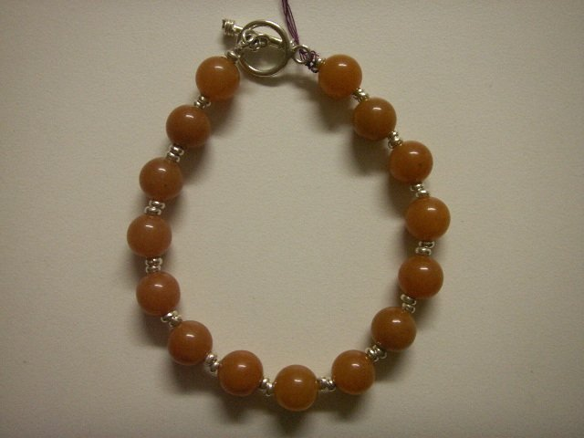 Handcrafted Silver Jewelry - Handmade .950 Pure silver Bracelet with Carnelina Stone