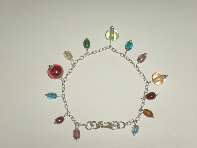 Handcrafted Silver Jewelry - Handmade .950 pure silver bracelet and murano crystals