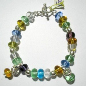 Handcrafted Silver Jewelry - Handmade .950 Silver Bracelet with Multi-Colored Murano