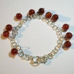 .950 Silver Bracelet with Brown Agate *EMAIL SIZE FOR AVAILABILITY AND PRICE*