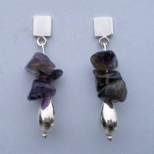 .950 Pure Silver Earrings with Amythyst