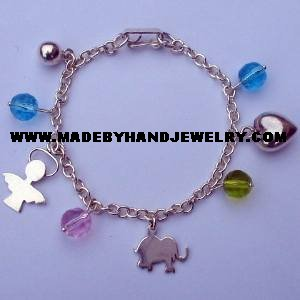 .950 Silver Bracelet with Murano and Silver Charms *EMAIL SIZE FOR AVAILABILITY AND PRICE*