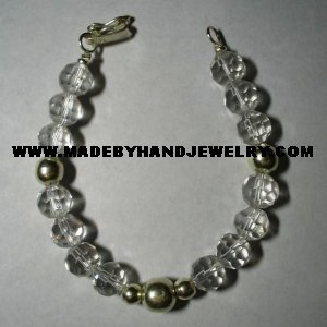 Handmade .950 Silver Bracelet with Clear Murano