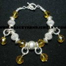 Handmade .950 Silver Bracelet with Amber colored Murano