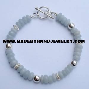 .950 Silver Bracelet with Celestine *EMAIL SIZE FOR AVAILABILITY AND PRICE*