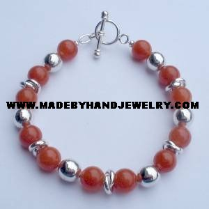 .950 Silver Bracelet with Carnelina *EMAIL SIZE FOR AVAILABILITY AND PRICE*