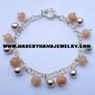 .950 Silver Bracelet with Melon Colored Quartz *EMAIL SIZE FOR AVAILABILITY AND PRICE*