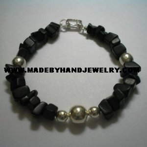 Handmade .950 Silver Bracelet with Black Onyx