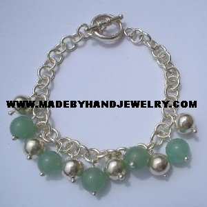 Handmade .950 Silver Bracelet with Green Jade