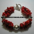 Handmade .950 Silver Bracelet with Red Coral