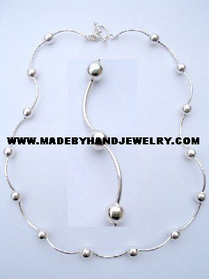 .950 Silver Necklace with No. 6 Spheres *EMAIL SIZE FOR AVAILABILITY AND PRICE*