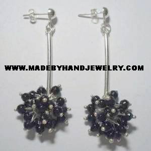 .950 Pure Silver Earrings with Black colored Murano