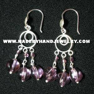 .950 Pure Silver Earrings with Grape colored Murano