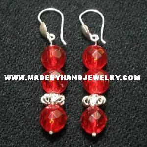 .950 Pure Silver Earrings with Red colored Murano
