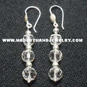 .950 Pure Silver Earrings with Clear Murano