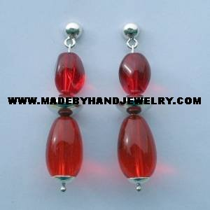 .950 Pure Silver Earrings Red colored Murano