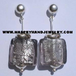 Handmade .950 Pure Silver Earrings with Gray Murano