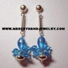 Handmade .950 Pure Silver Earrings with Light Blue Murano