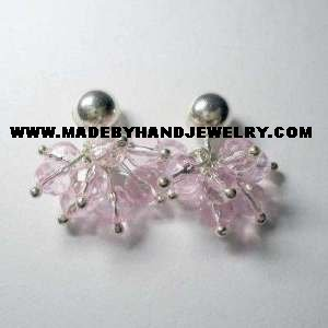 Handmade .950 Pure Silver Earrings with Pink Colored Murano