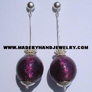 Handmade .950 Pure Silver Earrings with Grape Murano