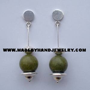 .950 Pure Silver Earrings with Serpentine stone