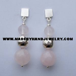 .950 Pure Silver Earrings with Pink Quartz