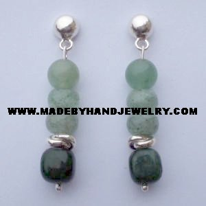 .950 Pure Silver Earrings with Jade and Aventurina