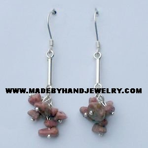 .950 Pure Silver Earrings with Clorodosite