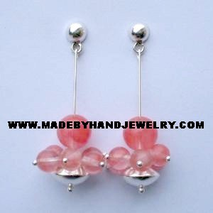 .950 Pure Silver Earrings with Rodocrosite stone