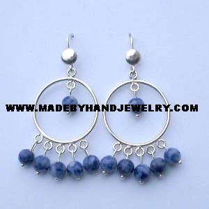 .950 Pure Silver Earrings with Sodalite Stone
