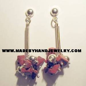 .950 Pure Silver Earrings with Jasper