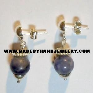 .950 Pure Silver Earrings with Sodalite