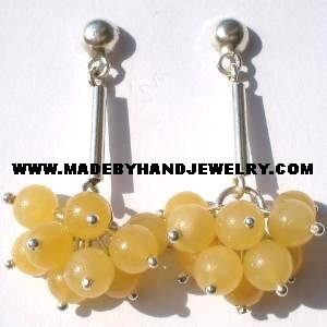 .950 Pure Silver Earrings with Yellow Agate