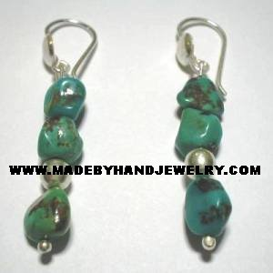 .950 Pure Silver Earrings with Peruvian Turqoise